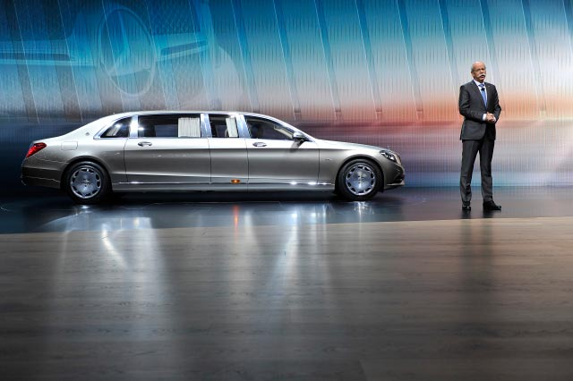 GENEVA, SWITZERLAND - MARCH 03: Daimler AG chairman Dieter Zetsche speaks next to the new Mercedes-Maybach S 600 Pullman during the 85th International Motor Show on March 3, 2015 in Geneva, Switzerland. The 85th International Motor Show held from the 5th to 15th March 2015 will showcase novelties of the car industry. (Photo by Harold Cunningham/Getty Images)