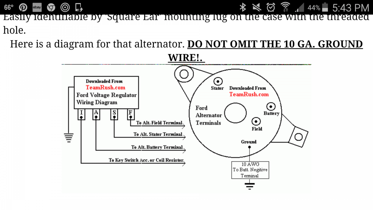 Diagram And Voltage Regulator Needed Electrical Alternator Ford