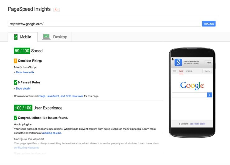 Analyze your website with Google PageSpeed