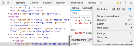 Development tools placement in Chrome