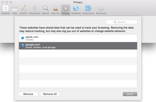 Manage website data in Safari