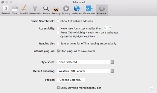 Show Develop menu in Safari