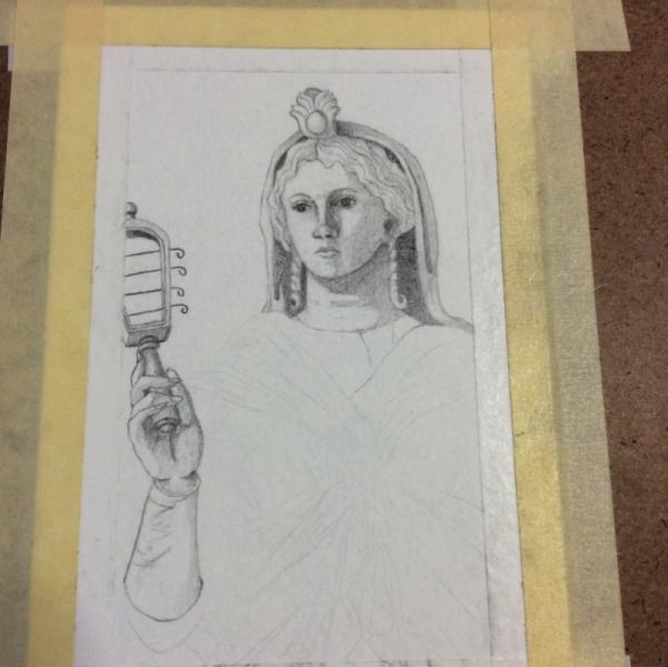 Roman Isis WIP Sketching by Bronwen MacDonald