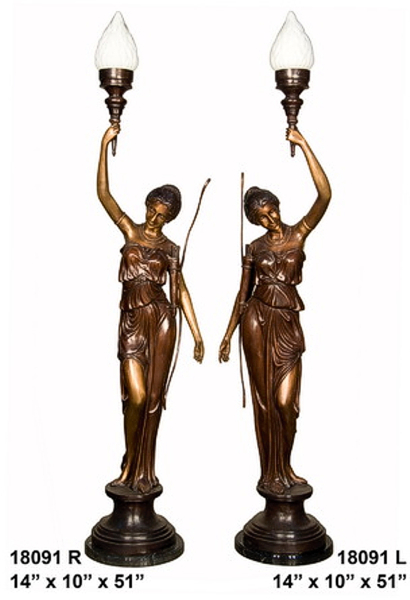 Bronze Ladies Torchieres