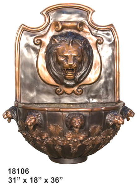 Bronze Lion Wall Fountain