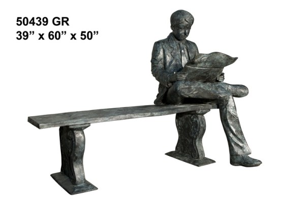 Bronze Man Bench Reading on Bench Statue