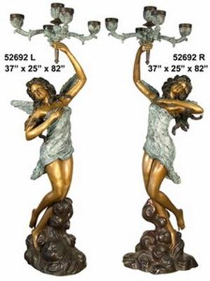 Bronze Ladies Torchiere Lamps