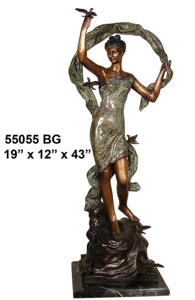 Bronze Lady with Bird Statue
