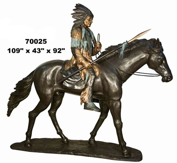 Bronze Indian on Horse Statue