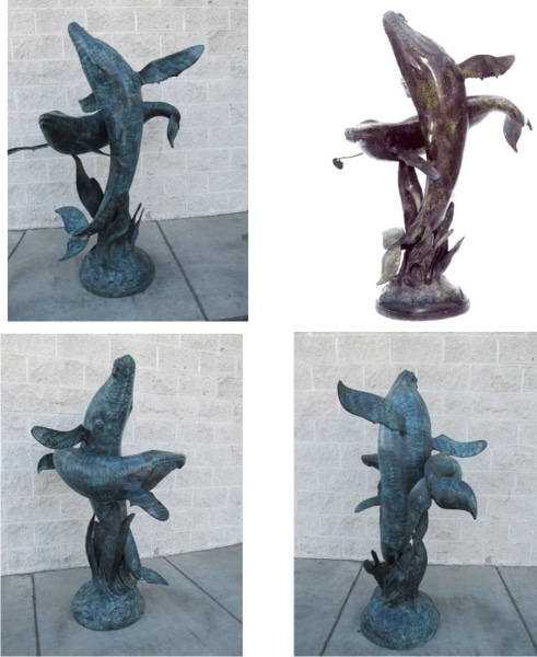 Bronze Whale Calf Fountain