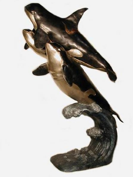 Bronze Orca Whales Fountains