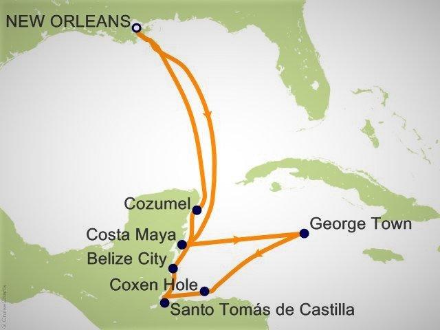 环游世界邮轮 - 加勒比海邮轮航程图