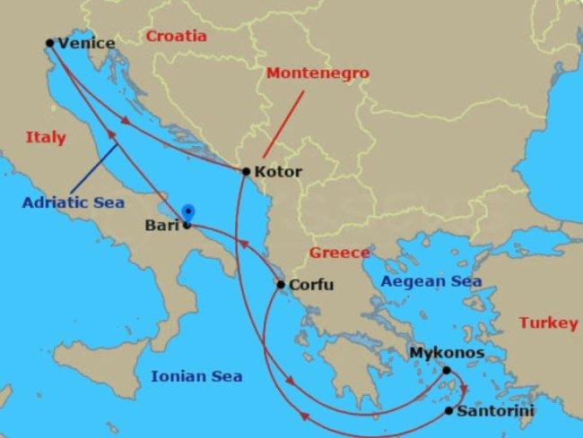东地中海邮轮 八日游 邮轮停靠希腊与克罗埃西亚