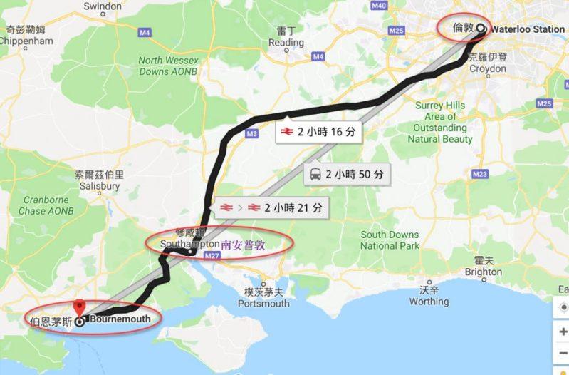 熟齡遊學 - 倫敦經南安普敦到伯恩茅斯地圖
