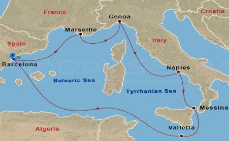 MSC嘉麗號 - 3/15嘉麗號西地中海航行地圖