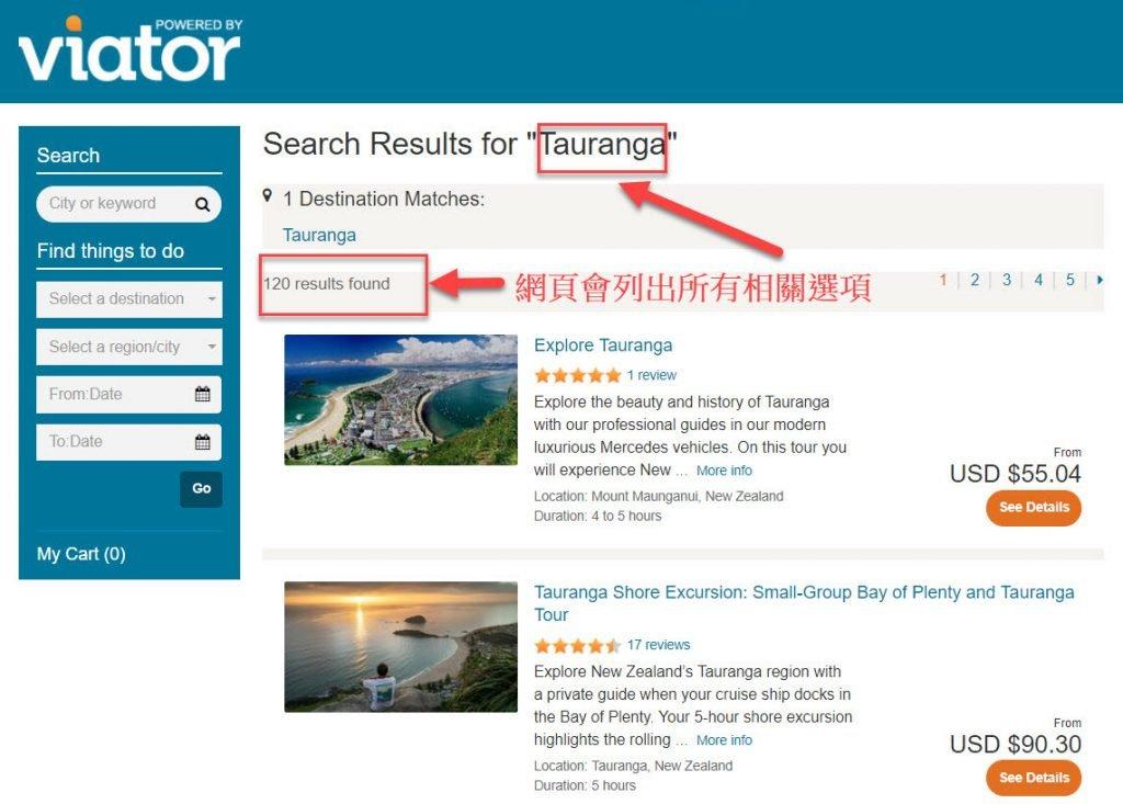岸上观光 - 接着网页就会列出所有相关选项