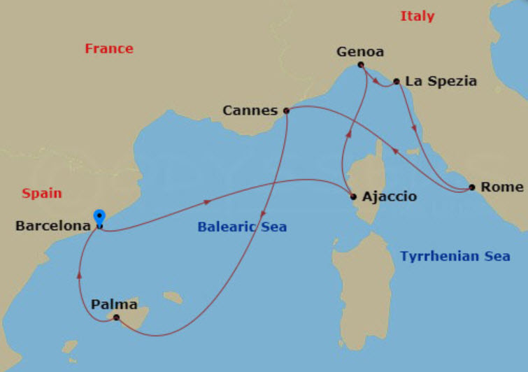 西班牙熟龄游学 - MSC Seaview 航程图
