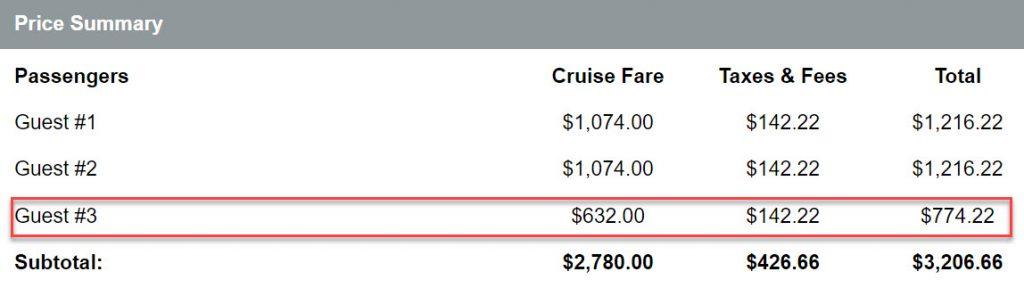 2020年寒假郵輪 - 內艙三人一室線上報價