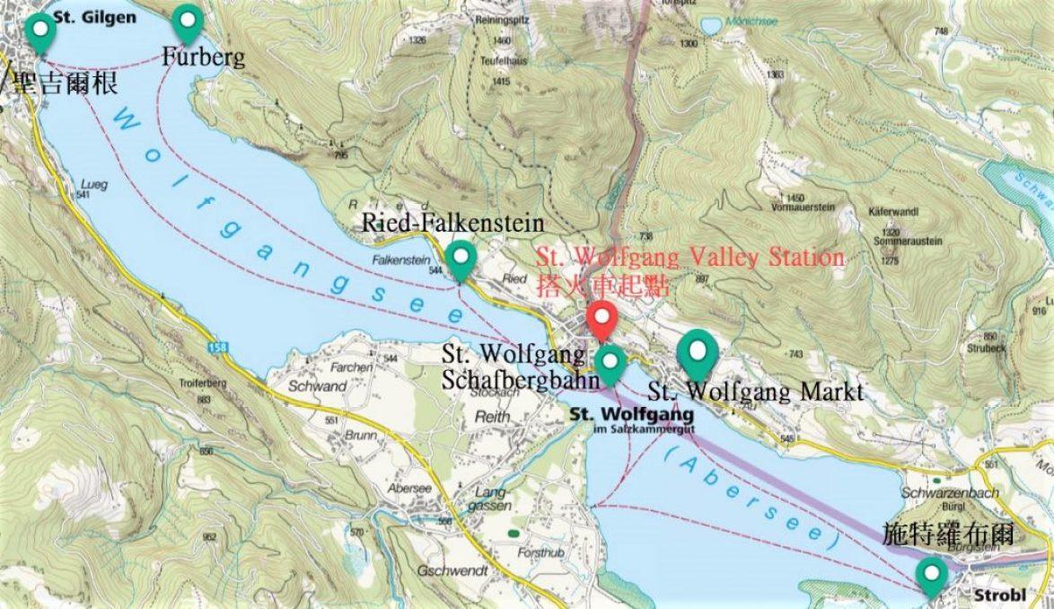 沃夫岡湖渡輪航線圖