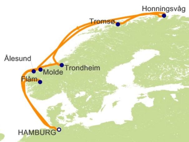 环游世界邮轮 - 挪威峡湾航程图