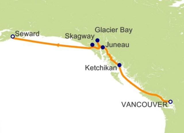环游世界邮轮 - 阿拉斯加航程图