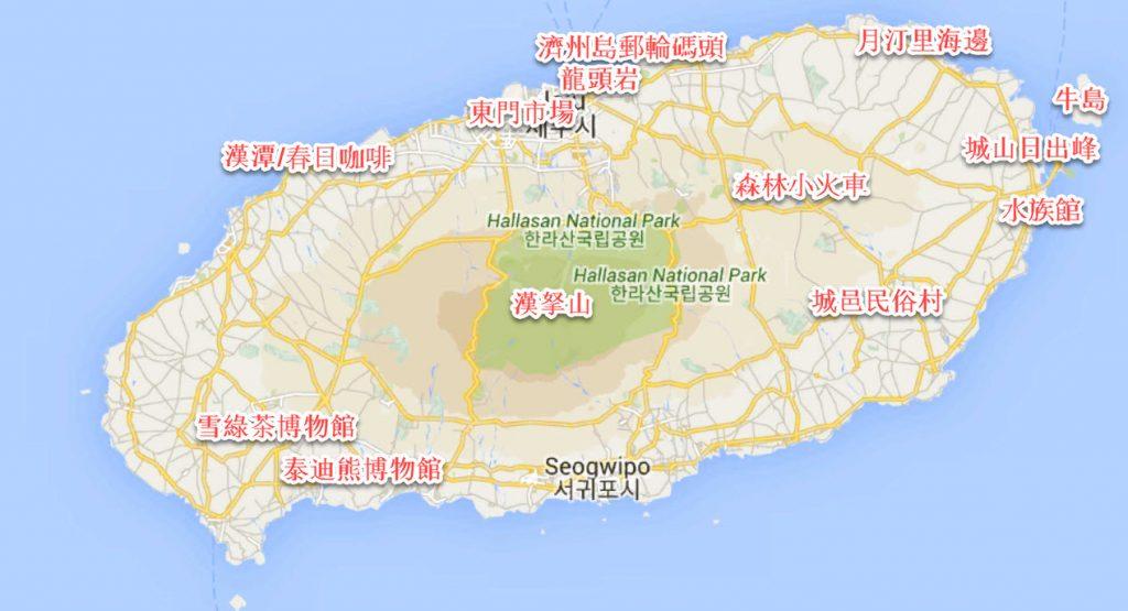 邮轮济州岛一日游 - 济州岛地图