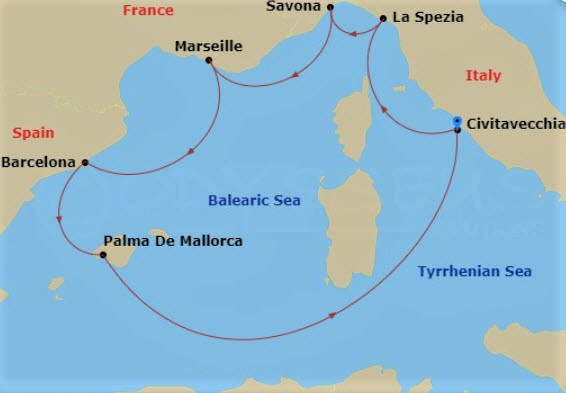 2020地中海郵輪推薦 - 歌詩達翡翠號航程圖