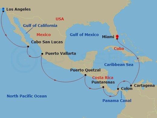 郵輪航線 - 穿越巴拿馬運河航程圖例