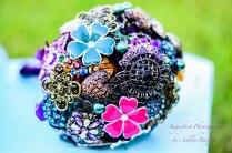 vintage flower brooch bouquet rustic purple handle