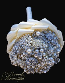pearl brooch bridal bouquet ivory white