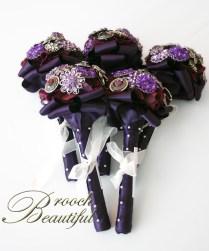 purple brooch bouquet small bridesmaid flowergirl