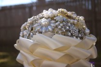 Ivory Pearl Brooch Bridal Bouquet Cascading Ribbon