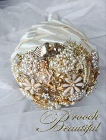 Cascading Gold Pearl Brooch Bouquet 9