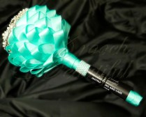 Tiffany Blue Turquoise Brooch Bouquet Cascading Ribbon 10