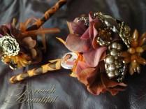 Vintage Orange Brown Brooch Bouquet 2