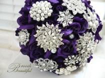 Purple Velvet Rose Brooch Bouquet 4