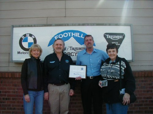 Brook (on the right) Getting BMW 100,000 Mile Award in 2005
