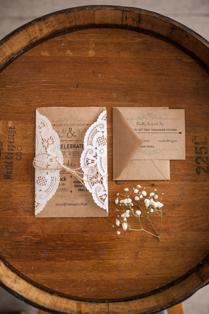 rustic lace doiley wedding invitation