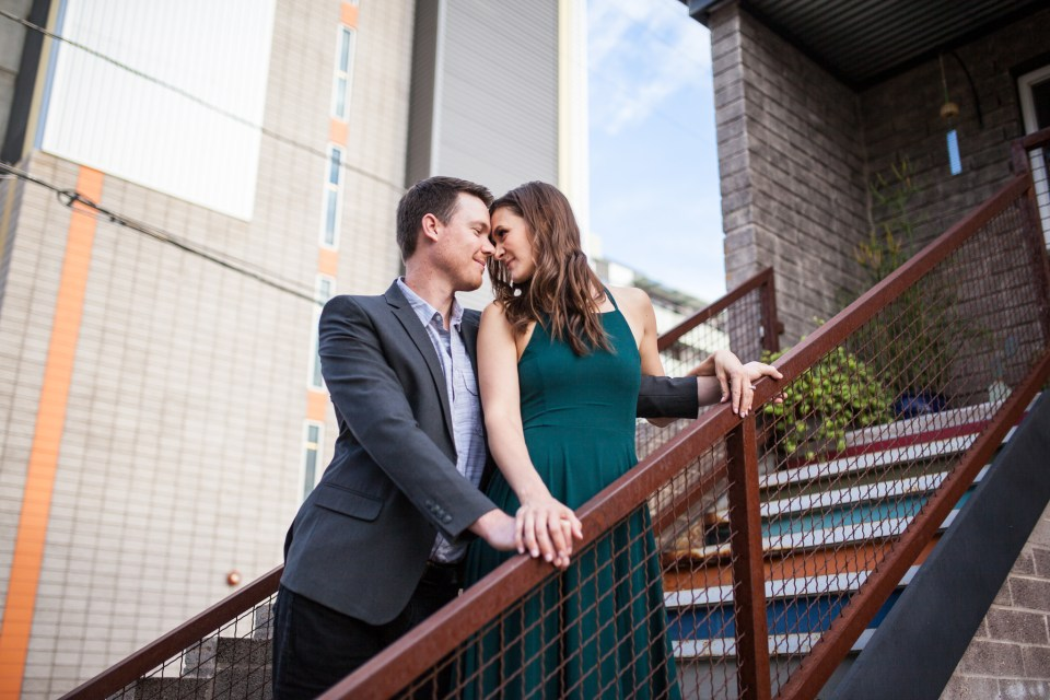 downtown phoenix engagement photos engagement pictures engagement photographer colorful stairs long flowy green dress from lulus for engagement session