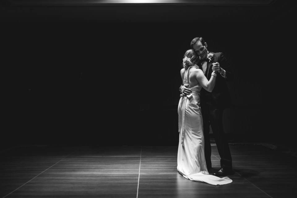 first dance bride and groom black and white