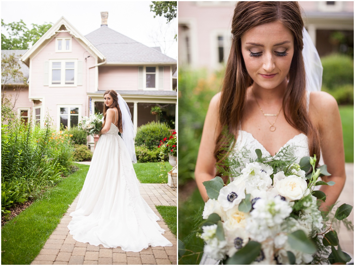 Sweetheart a-line Essence of Australia wedding dress from Uptown Bridal outside the pink victorian house at the farm at dover milwaukee with florals by Gia Bella Flowers makeup by Blush by Brittany