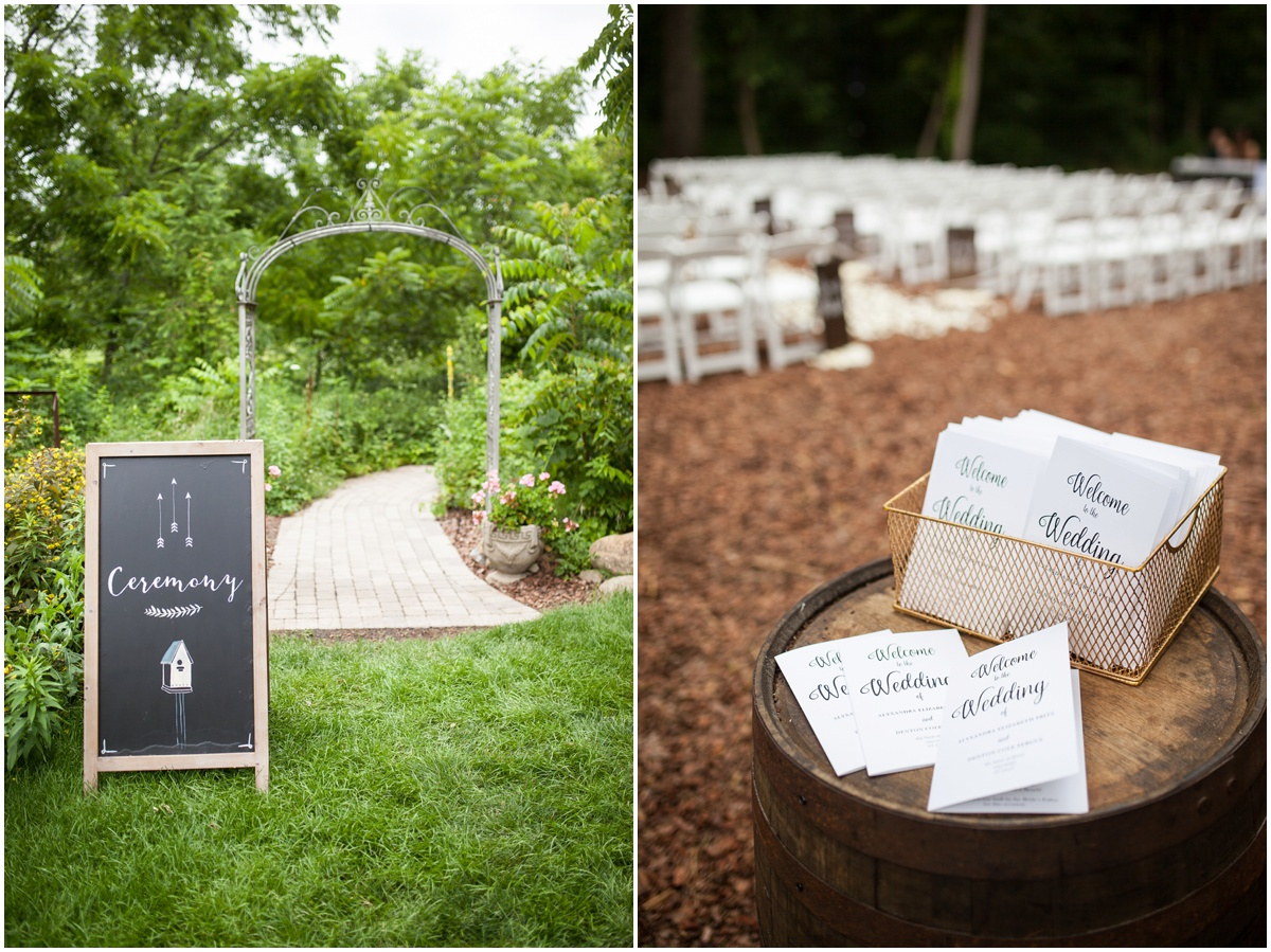 the farm at dover ceremony entrance sign and wedding programs at ceremony site