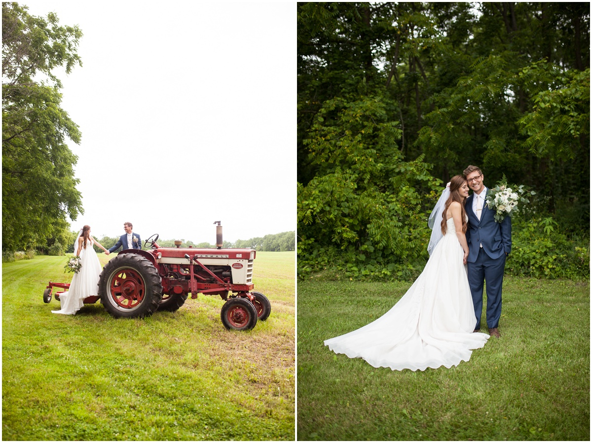 the farm at dover milwaukee bride and groom on a red tractor in an open Sweetheart a-line Essence of Australia wedding dress from Uptown Bridal