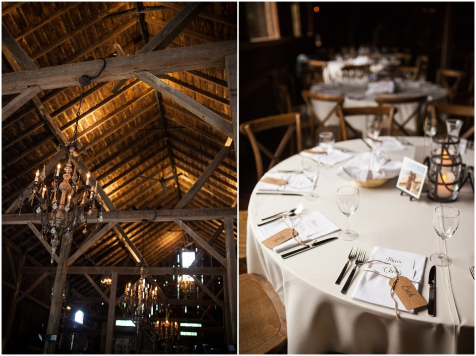 wedding reception in the barn of The Farm at Dover tablescapes