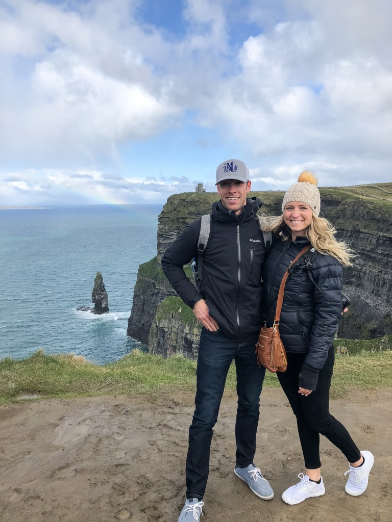brooke and doug at the cliffs of moher with rainbow