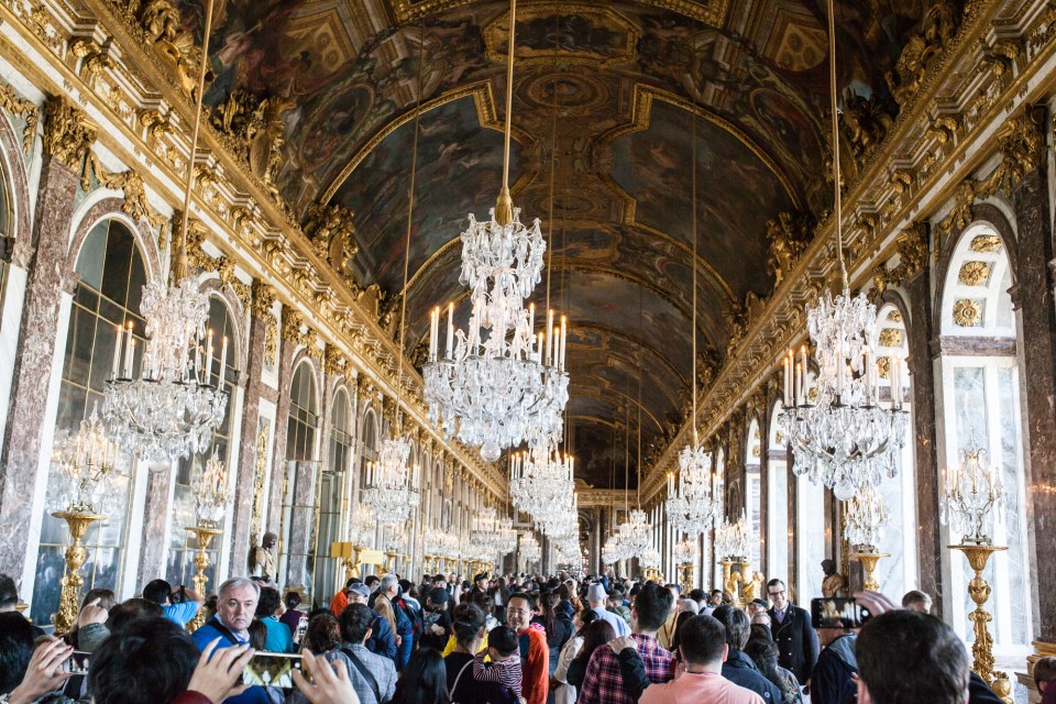 Hall of Mirrors in Palace of Versailles Paris France