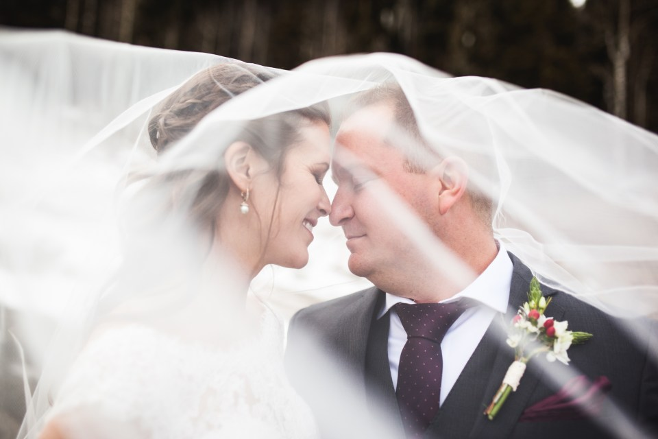 Durango, Colorado Winter Wedding bride and groom under veil