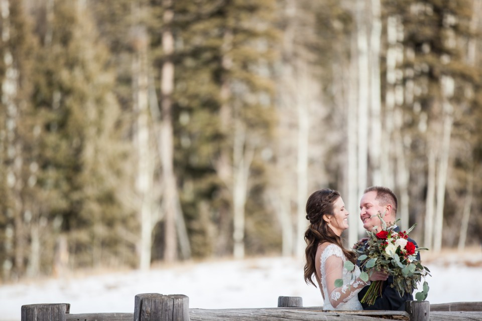 winter bride and groom durango colorado winter wedding