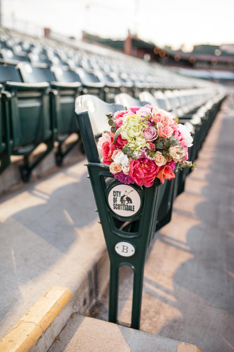 scottsdale arizona wedding baseball stadium bridal bouquet