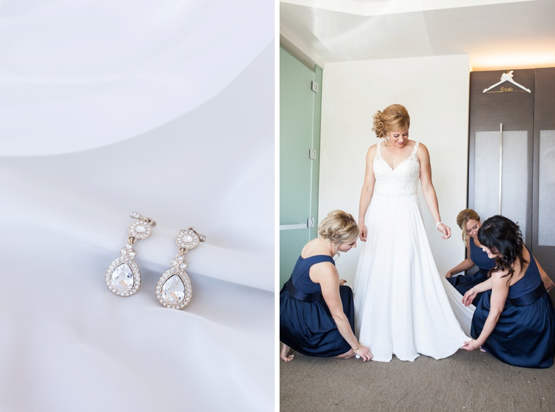 bride getting ready with bridesmaids and bridal jewelry